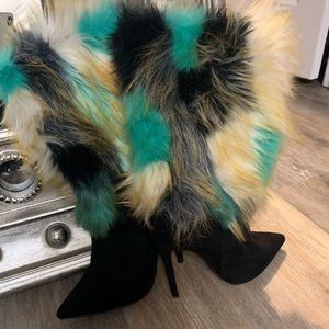 Faux fur statement colorful boots!! Basically new!